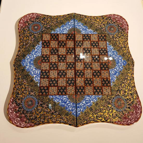 Handcrafted Iranian Luxury Hatem Backgammon and Chess 50 x 50 CM